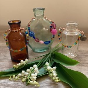 Flower vases decorated with beads handmade